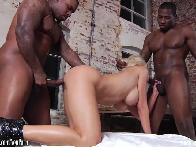 Nina elle taking two huge black dicks in threeway