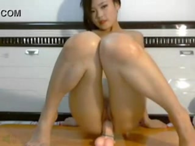 Amateur Riding Huge Dildo