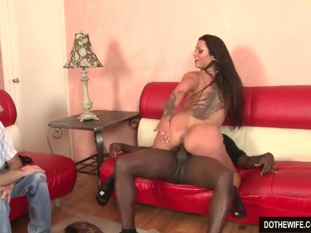 Ebony Takes Huge White Dick