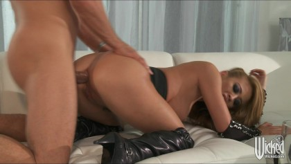 Gorgeous Big-tit blonde Asian slut is fucked anal by big hard cock