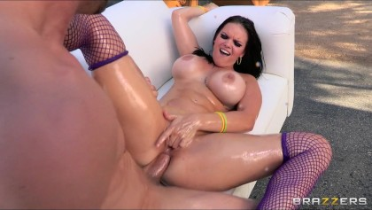 Fat booty brunette Mackenzee Pierce is oiled up for rough anal