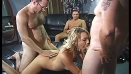 Blonde Services Room Full Of Guys