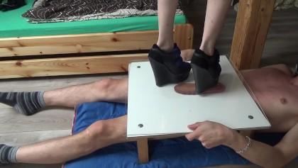 Hard crushing balls and cock full weight under plexiglass - CBT Trample