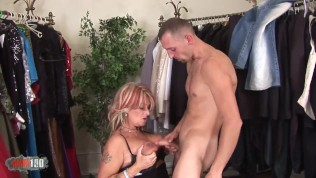 This old slut takes special care to her client because she wants his dick!