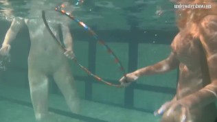 Underwater acrobatics lesbians Irina Barna and Anna Feher