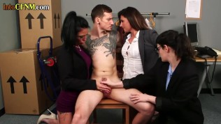 Dominating CFNM babes tugging shoplifters dick