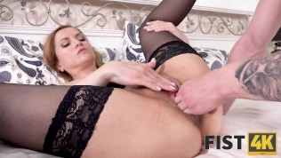 FIST4K. Wonderful girl receives both penis and fist of loved guy in fanny