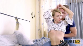 MATURE4K Horny mature in nice outfit fools around with handsome tenant